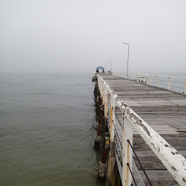 Jetty in the Mist by Pamela Howard - Buildings & Architecture Bridges & Suspended Structures ( water, sky, sea, jetty, mist )