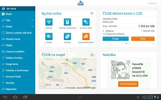 Screenshot of ČSOB SmartBanking