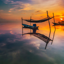 silent by Genx Cheq - Transportation Boats ( garage, malaysia, sunrise, waterscapes, boat, landscapes, , golden hour, sunset )