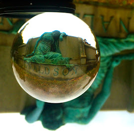 Statue in Rock Creek Cemetery through Crystal Ball by Tyrell Heaton - Instagram & Mobile iPhone ( statue, crystal ball, cemetery, iphone )