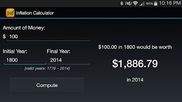 Screenshot of Inflation Calculator 1776-now