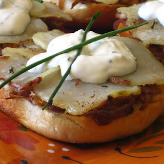 Bagel 'Pizzas' with Caramelized onions, Roasted Potatoes & Herbs topped with a faux Goat Cheese Creme Fraîche