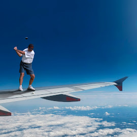 Sky Driver by Brett Warner - Digital Art People ( clouds, wing, sky, plane, golf, surreal, photoshop )