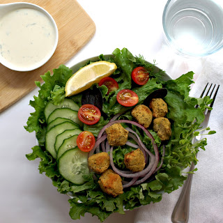Baked Falafal Salad + Two Creamy Dressings