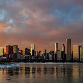 Chicago Sunset by Paul Stonehouse - City,  Street & Park  Skylines ( chicago skyline, shed, willis tower, wells street, lake michigan, lake front, lake shore drive, sunset, chicago sunset, chicago, l train )