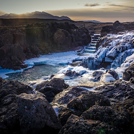 ICELAND by Jon Webb - Landscapes Travel ( stream, stepped, november, fish ladder, grass, 2014, waterfall, lake, steps, frozen, jonwebb.net, sun, island, iceland, stairs, cold, ice, improve photography, creek, ijsland, rocks, river )