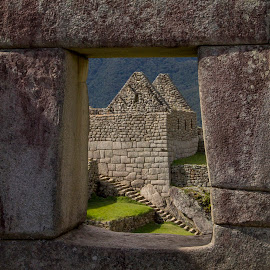 View Thru The Window by Janet Marsh - Buildings & Architecture Public & Historical ( window, machu picchu,  )