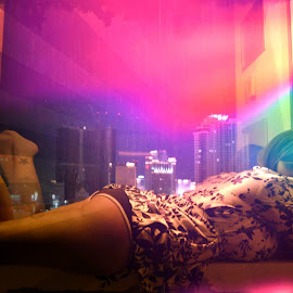 Honeymooning by Patrick Strzelecki - Nudes & Boudoir Boudoir ( nude, night scene, boudoir, nightview, cityscape, posed, nightscape, honeymoon, las vegas, sexy, night photography, nightscapes, vegas, nightlife )