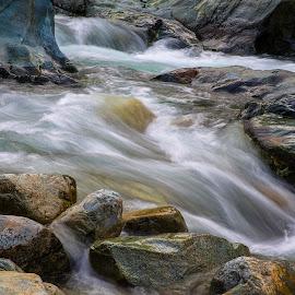 Yuba Rapids in Drought by Richard Duerksen - Nature Up Close Water ( water, yuba river, covered bridge, california, soft water, low tide, river )