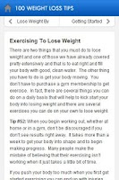 Screenshot of 100 Weight Loss Tips