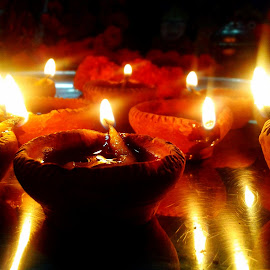 The gleam of diyas.. by Saumy Nagayach - Instagram & Mobile Other ( temple, candle, diwali, diya, light )