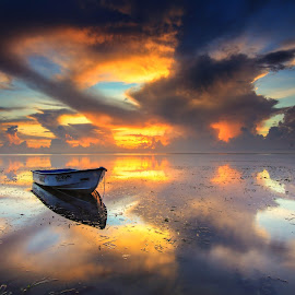 The Boat by Efraim Dastanta Ginting - Transportation Boats ( clouds, bali, sky, sunrise, transportation, seascape, boat, landscape )