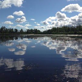 Topwater Heaven by Dave Fisher - Instagram & Mobile iPhone ( clouds, mirror, water, reflection, summer, lake, fishing, river )
