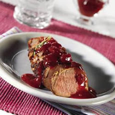Pork Tenderloin in Mustard Marinade with Cherry Compote