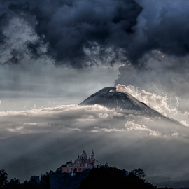 Storm and volcano by Cristobal Garciaferro Rubio - Landscapes Travel ( mountain, volcano, church, mexico, puebla, view, storm )