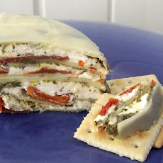 Italian Sun-Dried Tomato, Provolone and Pesto Torte