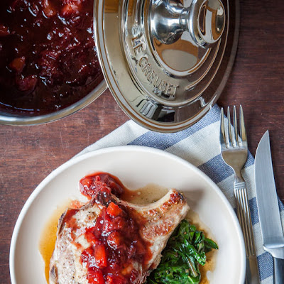 Stuffed Pork Chop Recipe with Chard, Cherries and Plum Balsamic Glaze