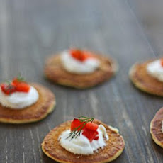 Green Onion Blinis With Red Pepper Relish and Goat Cheese