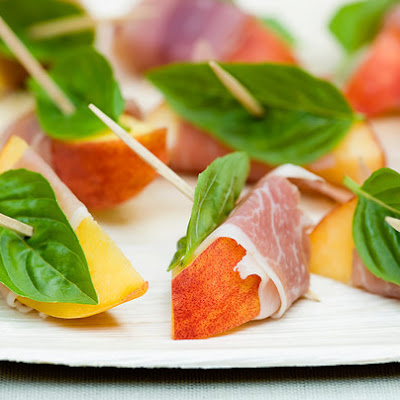 Spiced Peaches with Ham and Basil