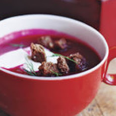 Beet Soup with Pumpernickel Croutons