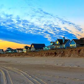 Sunrise on the Beach by Carol Plummer - Buildings & Architecture Homes ( sand, houses, sunrise, beach,  )