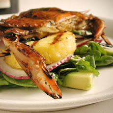 Grilled Soft-Shell Crab and Pineapple Salad with Watercress