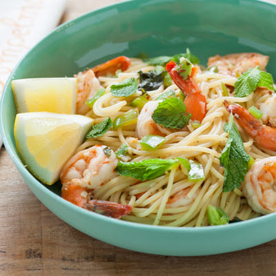 Shrimp Spaghettini with Chilis, Mint & Lemon