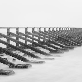 West Beach by Darren Curtis - Black & White Buildings & Architecture ( cityscapes, copyright-2014 all rights reserved, landscapes of sussex, seascapes, living landscapes, landscapes, fine art photography., sussex landscapes, 2014-03 west beacch, street photography )