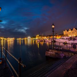 One night in Bergen. by Paulius Bruzdeilynas - City,  Street & Park  Night ( bergen, lantern, harbor, rope, norwegian, blue, night, hour, norge, light, norway )