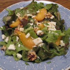 Red Leaf Lettuce With Peach and Fresh Chevre