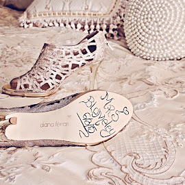 The Shoe says it all! by Alan Evans - Wedding Details ( wedding photography, wedding shoes, ballarat wedding photographer, wedding, aj photography, getting ready, wedding details, pearls and lace, brides shoes, ballarat )