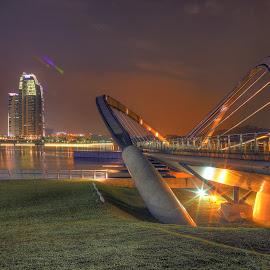 Putrajaya at Night II by Fairuz Mustaffa - Buildings & Architecture Architectural Detail ( details, buildings, bridge, night shot, nightscape )
