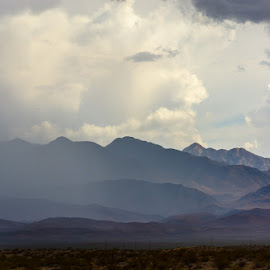 Distant Rain by Leslie Nu - Landscapes Weather ( stormy, mountains, desert, cloudscapes, weather, landscapes, light, sun rays, rain )