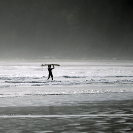 Surfer Walking to Shore by Keith Sutherland - People Street & Candids ( shore, surfer, silhouette, waves, ocean )