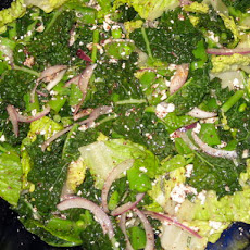 Salad with Kale, Snap Peas and Lemony Feta Dressing