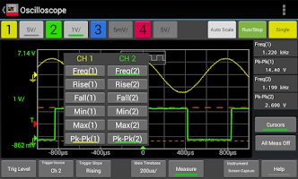 Screenshot of Keysight Oscilloscope Mobile