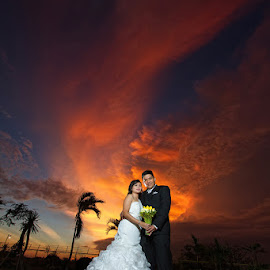 A Fire in the Sky Wedding by Arvin Tonogbanua - Wedding Bride & Groom ( sunsets, sunset, weddings, wedding, bride and groom, marriage )