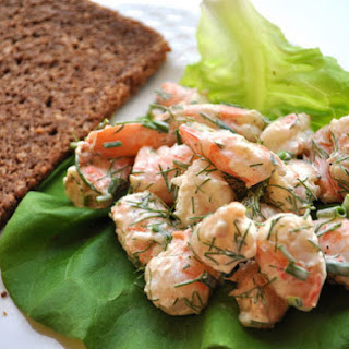 Shrimp Salad with Butter Lettuce and Pumpernickel Bread