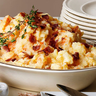 Golden Mashed Potatoes with Fried Onions and Bacon