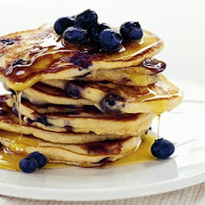 Lemon Buttercream Pancakes With Blueberries