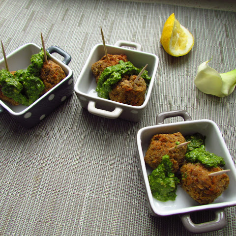 Vegetarian Lentil and Chickpea Meatballs with Lemon Pesto