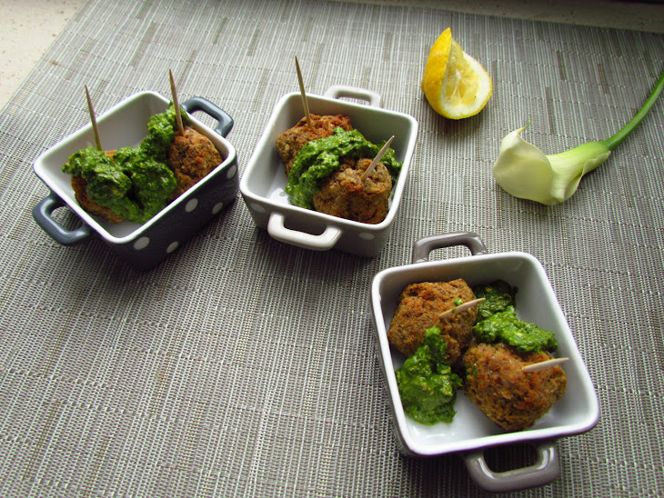 Vegetarian Lentil and Chickpea Meatballs with Lemon Pesto Recipe ...