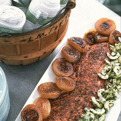 Spice-Rubbed Grilled Salmon with Spicy Cucumber Salsa