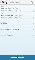 Screenshot of Ally Mobile Banking