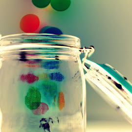 Escaping Bokeh by Janine Kain - Artistic Objects Glass ( creative, jar, glass, artistic object, bokeh, escape, colours )