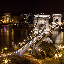 Chain Bridge by night by Sebastièn Petri - City,  Street & Park  Night ( hungary, enlightened, budapest, chain, night, historical, bridge )
