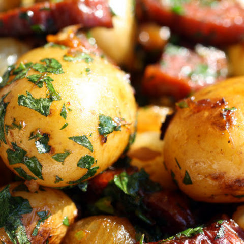 Chorizo-Crisped Potatoes with Pearl Onions and Whole Garlic