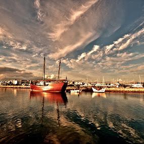 Boat by Dorota Grolewska - Transportation Boats ( boat dusk sky water mirror )