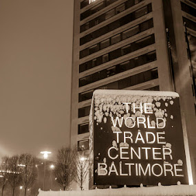 Sepia Tone The World by Aaron Krosner - Black & White Buildings & Architecture ( raw, pure, wtc, md, snow, sepia tone, baltimore, maryland, long exposure, night )