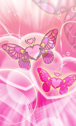 Butterfly Hearts theme 480x800